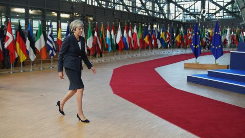 BRUSSELS, BELGIUM - OCTOBER 17:  British Prime Minister Theresa May arrives at the Euro Summit on October 17, 2018 in Brussels, Belgium. During the October EU Council Meeting British Prime Minister, Theresa May, will address the assembled 27 EU Leaders on the progress of Brexit negotiations prior to an Article 50 working dinner. The 27 will also meet to discuss negotiations on the deepening of the Economic and Monetary Union, Migration and Internal Security.  (Photo by Pier Marco Tacca/Getty Images)