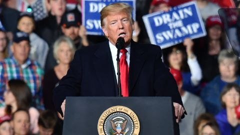 """US President Donald Trump speaks during a """"Make America Great"""" rally in Missoula, Montana, on October 18, 2018. (Photo by Nicholas Kamm / AFP)        (Photo credit should read NICHOLAS KAMM/AFP/Getty Images)"""