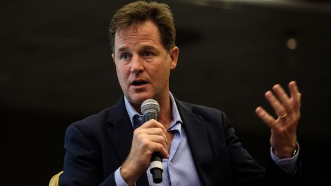 Nick Clegg speaking at a a Liberal Democrat Party Conference fringe event in September.