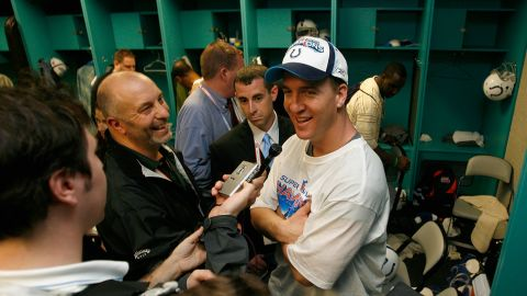 MVP quarterback Peyton Manning of the Indianapolis Colts speaks to the media in the locker room after winning Super Bowl XLI against the Chicago Bears on February 4, 2007 at Dolphin Stadium in Miami Gardens, Florida.