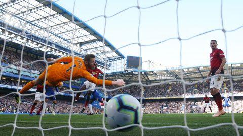 David De Gea was unable to stop Antonio Rudiger's header as Chelsea took a first-half lead.