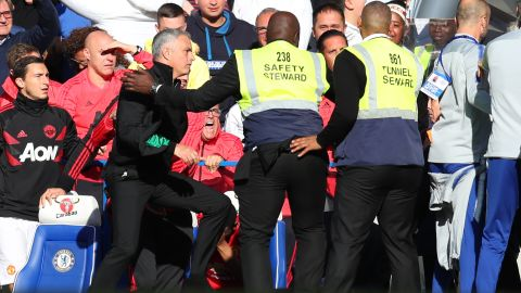 In October, stewards at Stamford Bridge had to hold back Mourinho after he was incensed by a member of the home team's support staff — Marco Ianni — crossing into the United technical area.