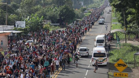 A migrant caravan walks into the interior of Mexico after crossing the Guatemalan border on October 21, 2018 near Ciudad Hidalgo, Mexico The caravan of Central Americans plans to eventually reach the United States.