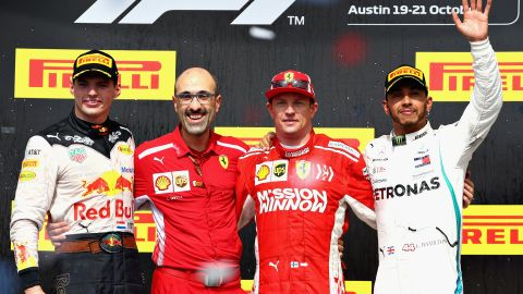 Race winner Kimi Raikkonen is flanked by second-placed Max Verstappen (far left) and Lewis Hamilton, who finished third after a thrilling US Grand Prix. Hamilton increased his title lead to 70 points over Sebastian Vettel ahead of the final three rounds of the championship.