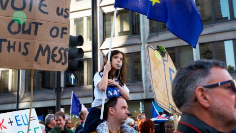 Thousands marched from Park Lane to Parliament Square in what is said to be the largest public protest against Brexit so far on October 20, 2018.