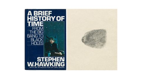"""A copy of Stephen Hawking's 'A Brief History of Time' """"signed"""" with his thumbprint raised $89,748 at auction."""