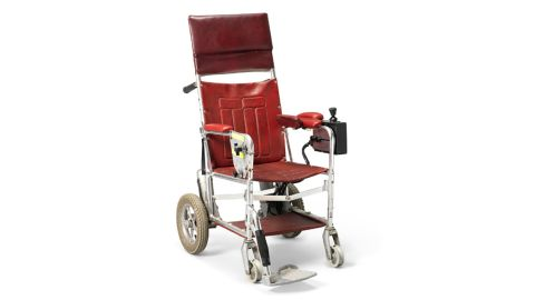 The wheelchair used by Stephen Hawking from the end of the 1980s until the early years of the 1990s, before he became unable to use his hands to drive it.