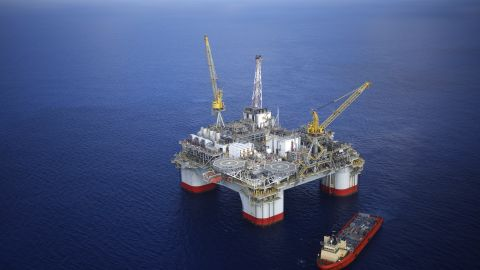 A Deepwater oil platform is shown in the Gulf of Mexico off the coast of Louisiana.