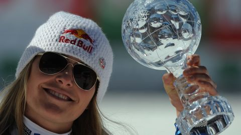 Vonn added a fourth World Cup title in 2012, but is still behind Annemarie Moser-Proell's record of six overall crystal globes.