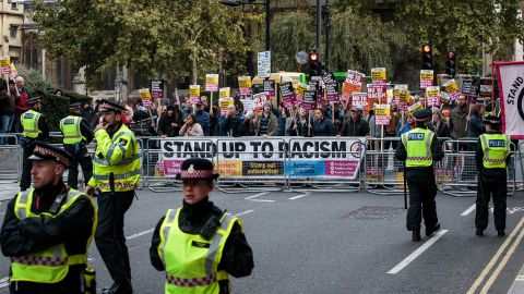 A demonstration against Tommy Robinson outside his appeal hearing at the Old Bailey courthouse in London in October.