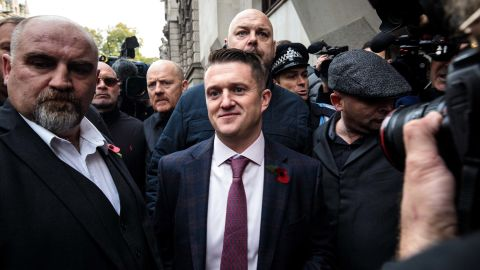 Far-right activist Tommy Robinson, whose real name is Stephen Yaxley-Lennon, pictured outside the Old Bailey court in October.