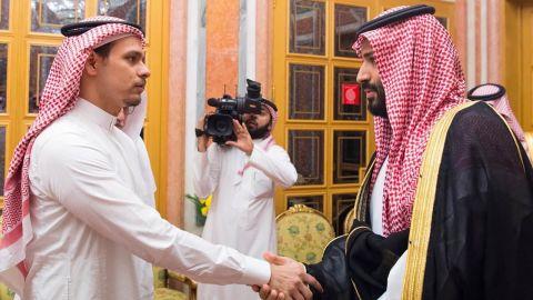 Saudi Crown Prince Mohammed bin Salman and his father King Salman pictured shaking hands with Salah bin Jamal Khashoggi, the journalist's eldest son, and Sahl bin Ahmad Khashoggi, another relative, at Al Yamama Palace in Riyadh in October, after Jamal Khashoggi's killing.