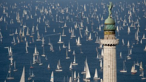 <strong>Trieste, Italy: </strong>At the 50th Barcolana regatta in Trieste, Italy, boats sail past the Victory Lighthouse. This historic regatta is held annually on the second Sunday of October.