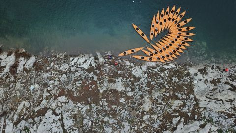 <strong>Weng'an, China</strong>: This aerial shot depicts kayaks moored on the Jiangjie River in Weng'an County, which is in southwest China's Guizhou Province.