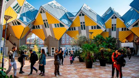 <strong>Rotterdam, the Netherlands: </strong>This is the Cube House in Rotterdam -- 38 cube-shaped pile dwellings and 13 business cubes. The Cube House was designed by architect Piet Blom.