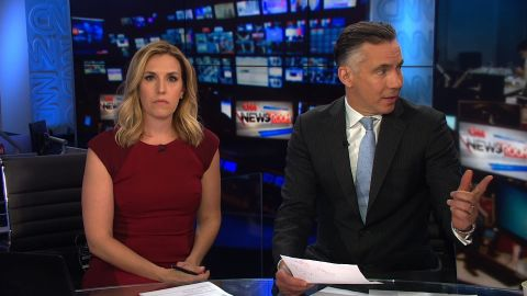 Poppy Harlow and Jim Sciutto on air moments before they were evacuated from CNN's New York newsroom