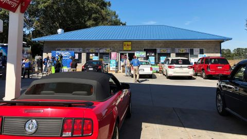 KC Mart, which sold the winning ticket, attracts visitors Wednesday near Simpsonville, South Carolina.