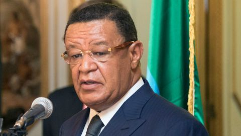 Ethiopian President, Mulatu Teshome, speaks beside the covered FIFA trophy at the National Palace of Ethiopia Addia Ababa on February 24, 2018, part of the football organisation's world trophy tour.