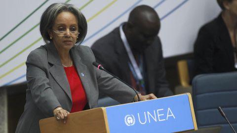 Sahle-Work Zewde speaks at a United Nations meeting in 2014 in Kenya.
