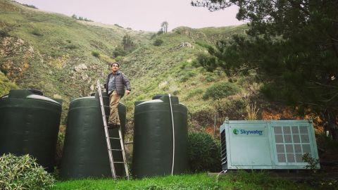 David Hertz harvests water from a Skywater machine in Big Sur, California.