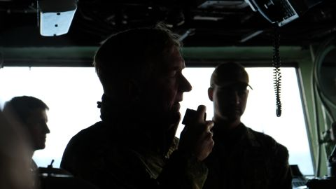 Admiral James G. Foggo III addresses service personnel on the USS Iwo Jima ambibious assault ship ahead of training exercises in Iceland.