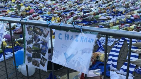 """A sign thanking """"Mr Chairman"""" left at the stadium Sunday."""