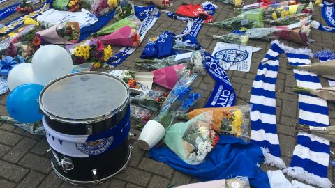 A drum left by one Leicester fan carries a message of gratitude.