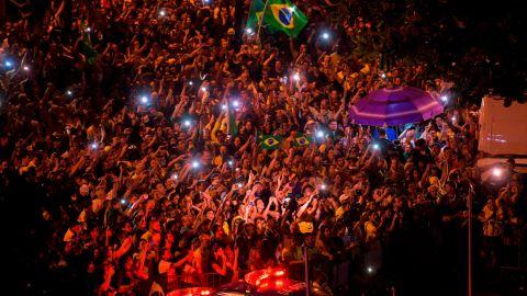 Supporters of far-right presidential candidate Jair Bolsonaro celebrate in Rio de Janeiro on Sunday.