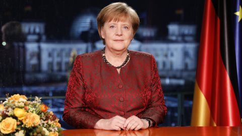 Merkel records her annual televised New Year's address in December 2017.