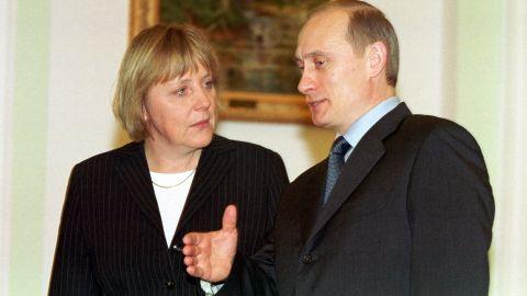Merkel meets Russian President Vladimir Putin in 2002, one of many meetings they would have over the years. Merkel speaks Russian fluently, while Putin speaks German.