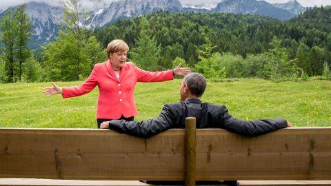 Merkel speaks to Obama on the sidelines of a G7 summit near Garmisch-Partenkirchen, Germany, in June 2015.
