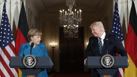Merkel and US President Donald Trump hold a joint news conference at the White House in March 2017.