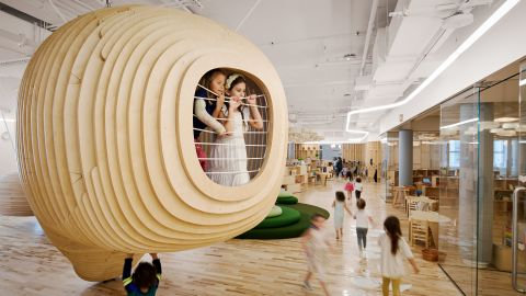 Inside WeGrow's first school are wooden dens for reading time.