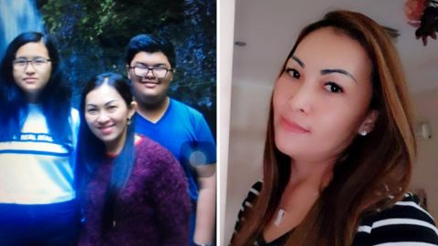 Fifi Hajanto (right), 42, was on board Lion Air flight 610 when it went down, her daughter Keshia Aurelia (pictured left with her mother and brother) told CNN.