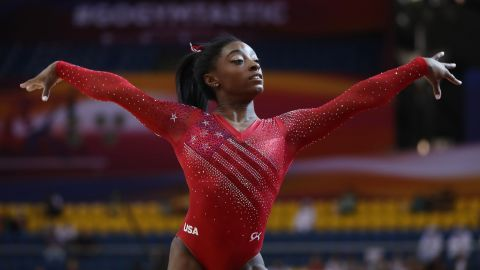 Simone Biles competes at the 2018 FIG Artistic Gymnastics Championships  in Doha, Qatar.