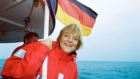 Merkel spends part of her summer in Langballig, Germany, in 2002.