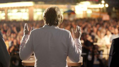 Merkel speaks in Nuremberg, Germany, ahead of federal elections in 2005.