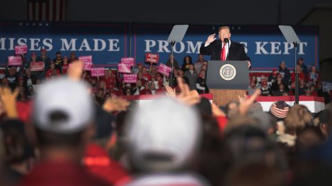 MURPHYSBORO, IL - OCTOBER 27:  President Donald Trump speaks to supporters during a rally at the Southern Illinois Airport on October 27, in Murphysboro, Illinois. Trump is visiting the state to show support for U.S. Representative Mike Bost who is in a tight race with Brenden Kelly for Illinois' 12th Congressional District.  (Photo by Scott Olson/Getty Images)