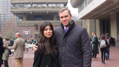 Durham University PhD student Matthew Hedges and his wife Daniela Tejada in London.