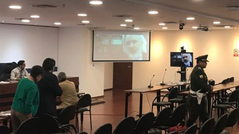 Assange is seen for the first time in months after appearing via teleconference at a hearing in Quito, Ecuador, on Thursday, October 25, 2018. The hearing was then postponed due to translation difficulties.