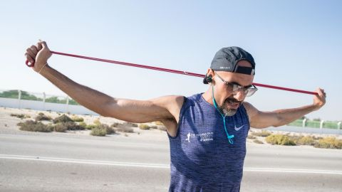 Khaled Al-Suwaidi runs 25 kilometers every day when he's training for a marathon.