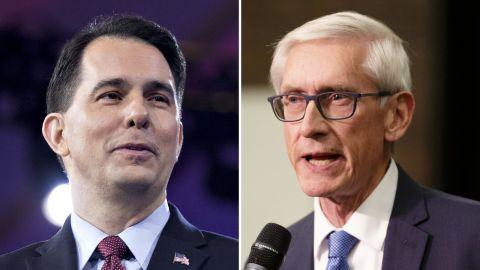 Wisconsin Gov. Scott Walker, left, and his successor, Tony Evers.