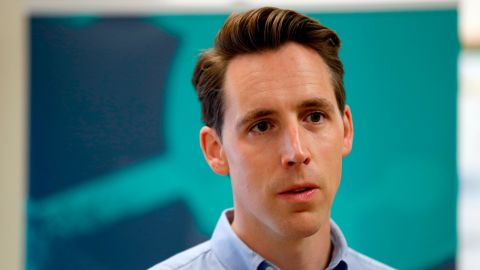 Missouri Attorney General and Republican US Senate candidate Josh Hawley takes questions from the media after touring the POET Biorefining ethanol plant in May in Macon, Missouri.