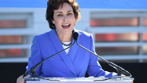 LAS VEGAS, NV - OCTOBER 20:  U.S. Rep. and U.S. Senate candidate Jacky Rosen (D-NV) speaks during a rally at the Culinary Workers Union Hall Local 226 featuring former U.S. Vice President Joe Biden on October 20, 2018 in Las Vegas, Nevada. Early voting for the midterm elections in Nevada begins today. (Photo by Ethan Miller/Getty Images)