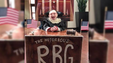 """Julia's nickname is """"Sweet Bird,"""" so there's always a bird element to the costumes. This year, the bird is playing the role of RBG's very important paper weight."""