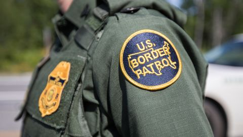 A patch on the uniform of a U.S. Border Patrol agent at a highway checkpoint on August 1, 2018 in West Enfield, Maine.