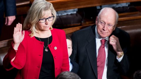 Former Vice President Dick Cheney looks on as his daughter Rep. Liz Cheney, R-Wyo., takes the oath of office on the House floor on Tuesday, Jan. 3, 2017. (Photo By Bill Clark/CQ Roll Call)