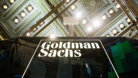 A Goldman Sachs sign is seen above the floor of the New York Stock Exchange shortly after the opening bell in the Manhattan borough of New York January 24, 2014.  REUTERS/Lucas Jackson/File Photo