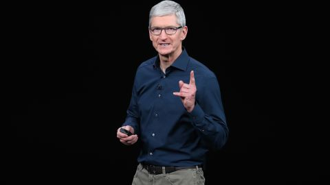 Tim Cook, chief executive officer of Apple, at a company event in 2018.