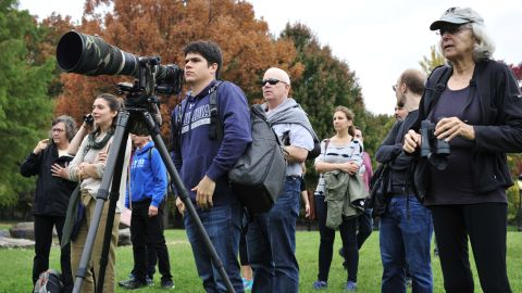 Birdwatchers line Central Park's Turtle Pond in New York City Friday for a glimpse of the bird.
